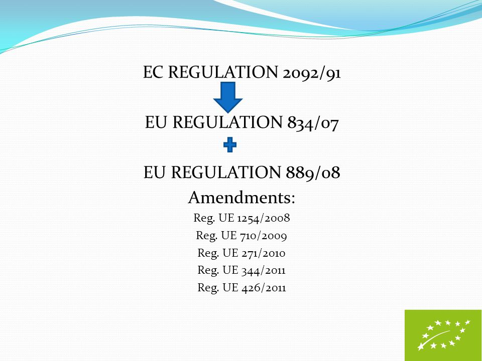 EC REGULATION 2092/91 EU REGULATION 834/07 EU REGULATION 889/08 Amendments: Reg. UE 1254/2008 Reg. UE 710/2009 Reg. UE 271/2010 Reg. UE 344/2011 Reg.
