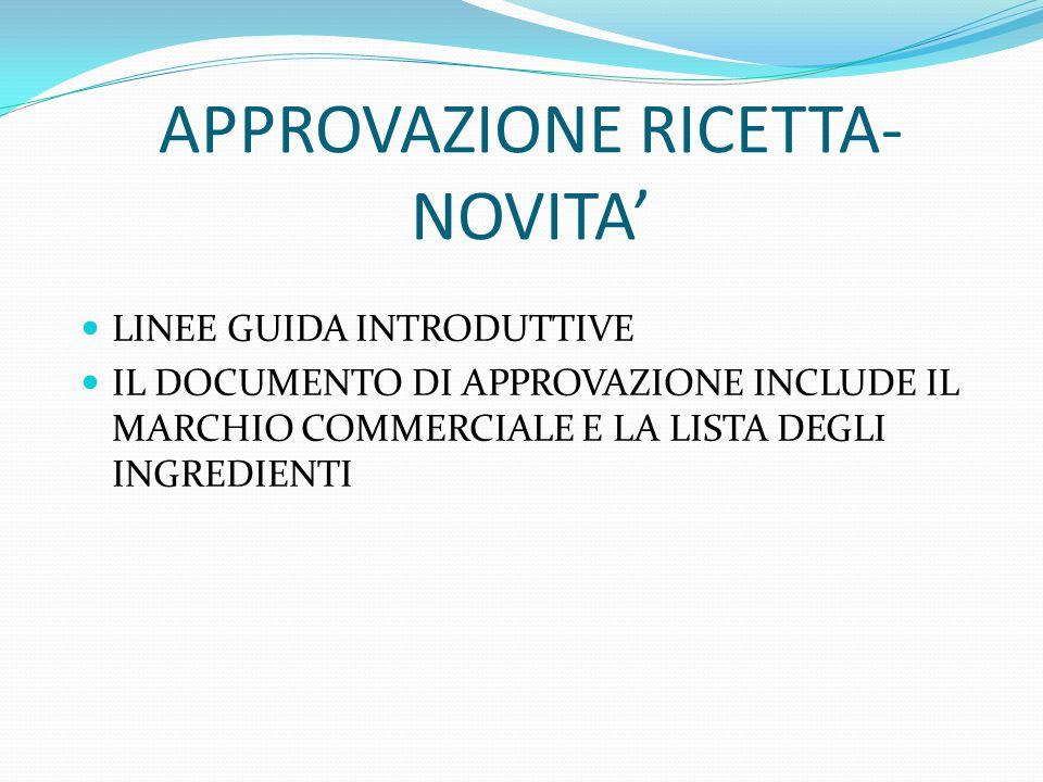 APPROVAZIONE RICETTA- NOVITA' LINEE GUIDA INTRODUTTIVE IL DOCUMENTO DI APPROVAZIONE INCLUDE IL MARCHIO COMMERCIALE E LA LISTA DEGLI INGREDIENTI