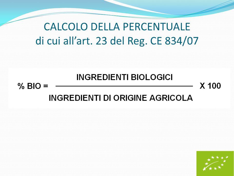 CALCOLO DELLA PERCENTUALE di cui all'art. 23 del Reg. CE 834/07