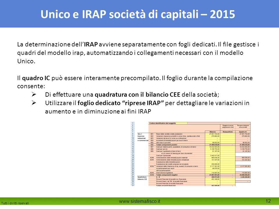 Tutti i diritti riservati www.sistemafisco.it 12 Unico e IRAP società di capitali – 2015 La determinazione dell'IRAP avviene separatamente con fogli dedicati.