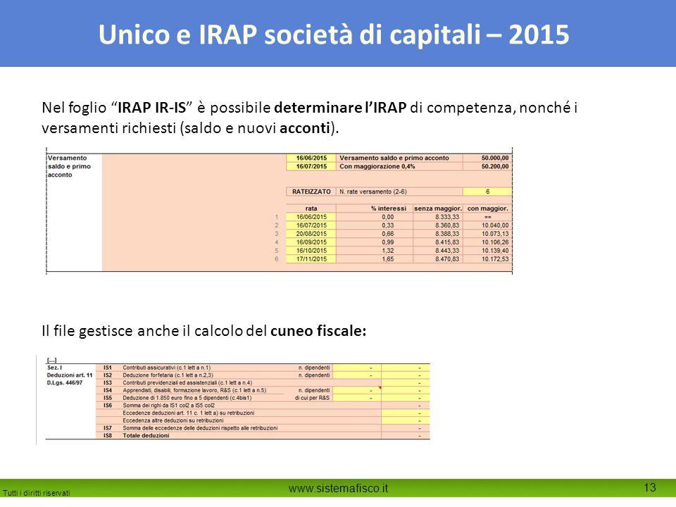 Tutti i diritti riservati www.sistemafisco.it 13 Unico e IRAP società di capitali – 2015 Nel foglio IRAP IR-IS è possibile determinare l'IRAP di competenza, nonché i versamenti richiesti (saldo e nuovi acconti).
