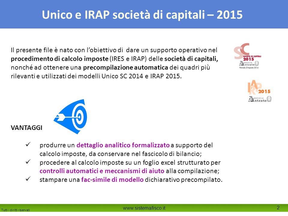 Tutti i diritti riservati www.sistemafisco.it 2 Unico e IRAP società di capitali – 2015 Il presente file è nato con l'obiettivo di dare un supporto op