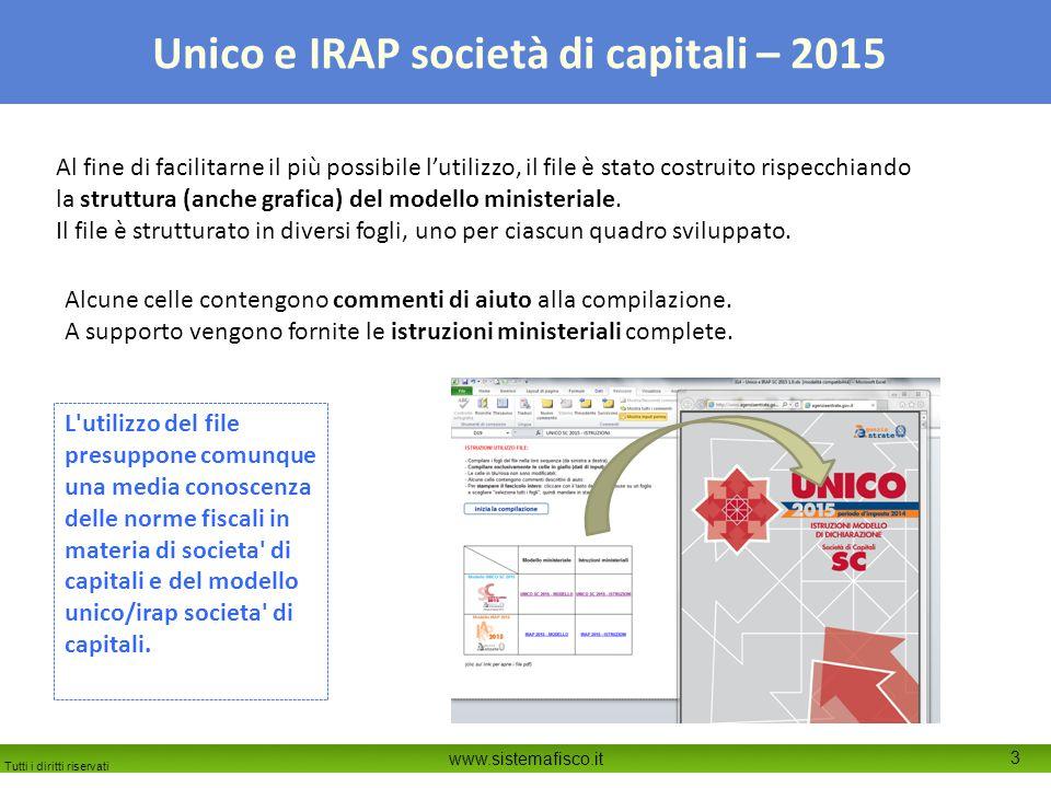 Tutti i diritti riservati www.sistemafisco.it 3 Unico e IRAP società di capitali – 2015 Al fine di facilitarne il più possibile l'utilizzo, il file è stato costruito rispecchiando la struttura (anche grafica) del modello ministeriale.