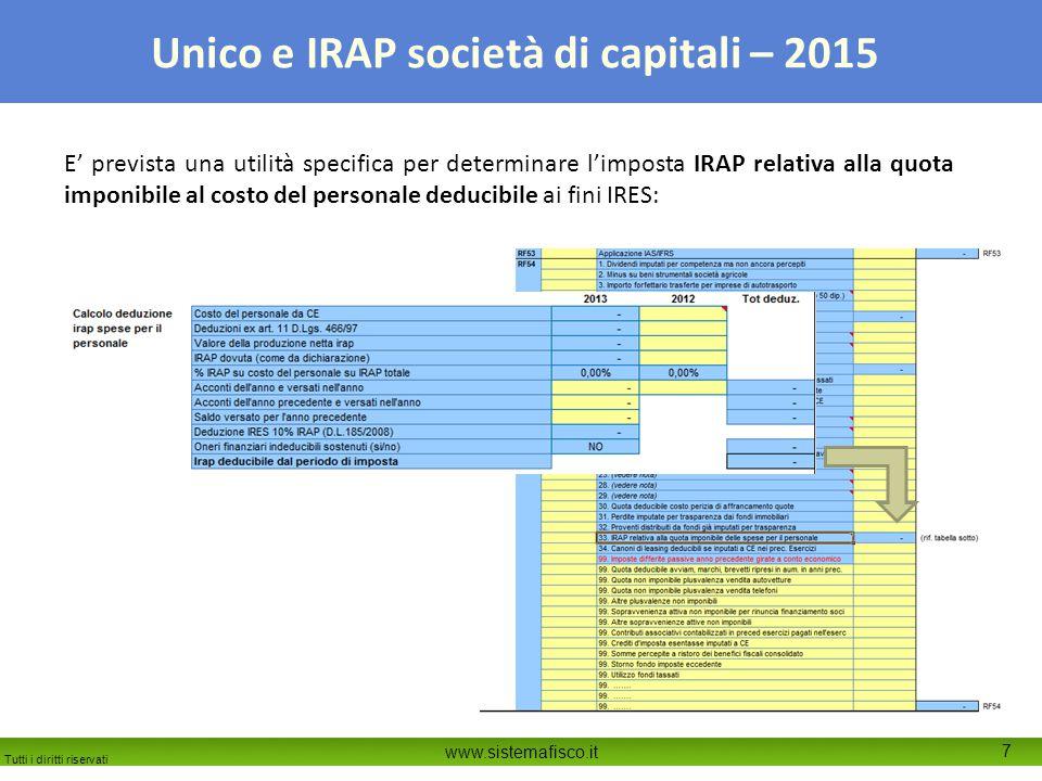 Tutti i diritti riservati www.sistemafisco.it 7 Unico e IRAP società di capitali – 2015 E' prevista una utilità specifica per determinare l'imposta IRAP relativa alla quota imponibile al costo del personale deducibile ai fini IRES: