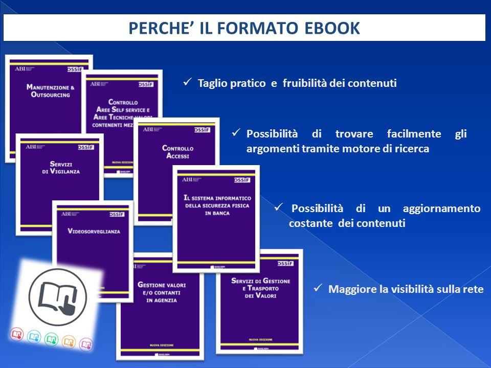 Gli E-Book sono pubblicati da Bancaria Editrice all'interno della propria piattaforma online ABI Cloud (www.abicloud.it) Realizzati da OSSIF, il Centro di Ricerca dell'ABI sulla Sicurezza Anticrimine, in collaborazione con le principali aziende fornitrici di soluzioni di sicurezza e con un sottoinsieme di banche : BCC di Barlassina, Banco di Desio e della Brianza, Banco Popolare, Banca Popolare di Milano, Banca Popolare Pugliese, Banca Popolare di Vicenza, Credem, Credito Valtellinese, Monte dei Paschi di Siena, Veneto Banca.