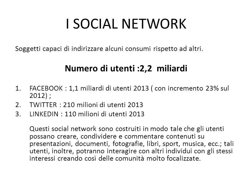 I SOCIAL NETWORK Soggetti capaci di indirizzare alcuni consumi rispetto ad altri.