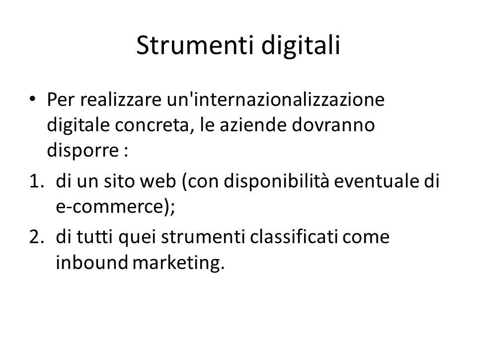 Strumenti digitali Per realizzare un internazionalizzazione digitale concreta, le aziende dovranno disporre : 1.di un sito web (con disponibilità eventuale di e-commerce); 2.di tutti quei strumenti classificati come inbound marketing.