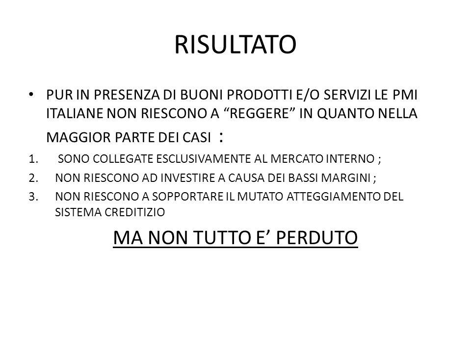 RISULTATO PUR IN PRESENZA DI BUONI PRODOTTI E/O SERVIZI LE PMI ITALIANE NON RIESCONO A REGGERE IN QUANTO NELLA MAGGIOR PARTE DEI CASI : 1.
