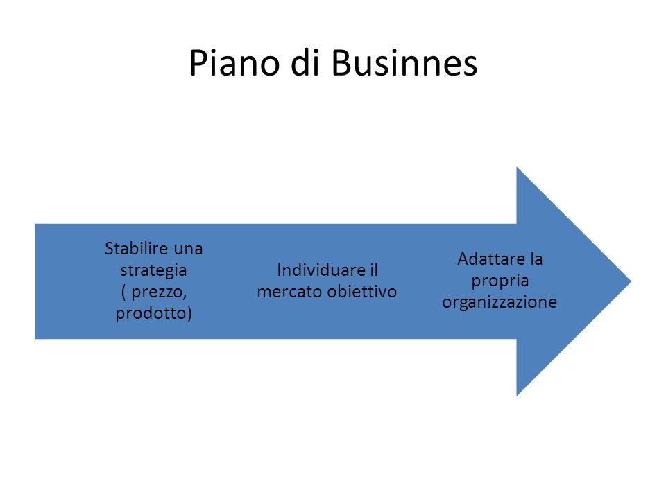 Piano di Businnes Adattare la propria organizzazione Individuare il mercato obiettivo Stabilire una strategia ( prezzo, prodotto)
