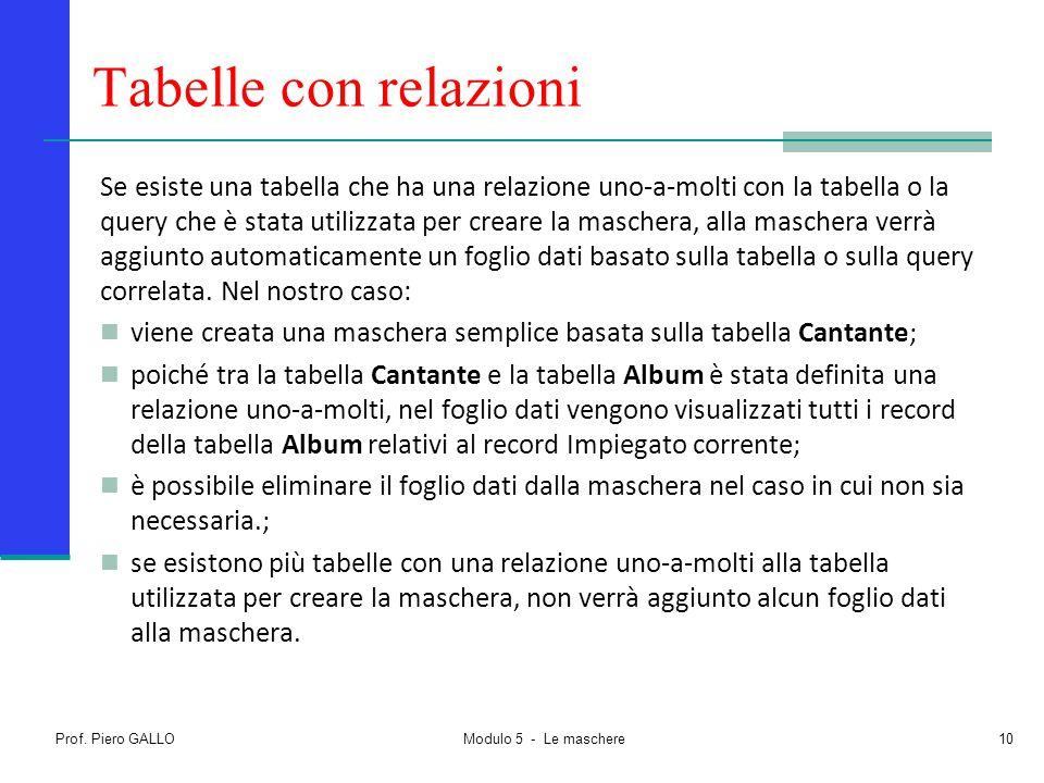 Prof. Piero GALLO Modulo 5 - Le maschere10 Tabelle con relazioni Se esiste una tabella che ha una relazione uno-a-molti con la tabella o la query che