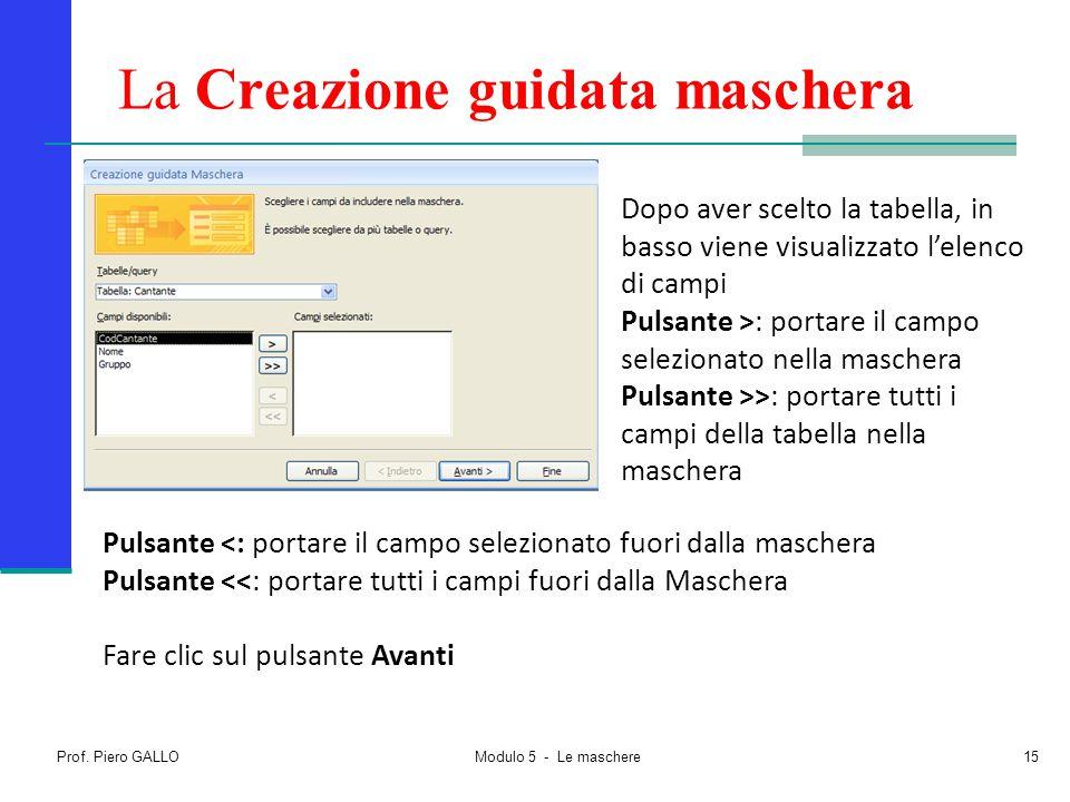 Prof. Piero GALLO Modulo 5 - Le maschere15 La Creazione guidata maschera Dopo aver scelto la tabella, in basso viene visualizzato l'elenco di campi Pu
