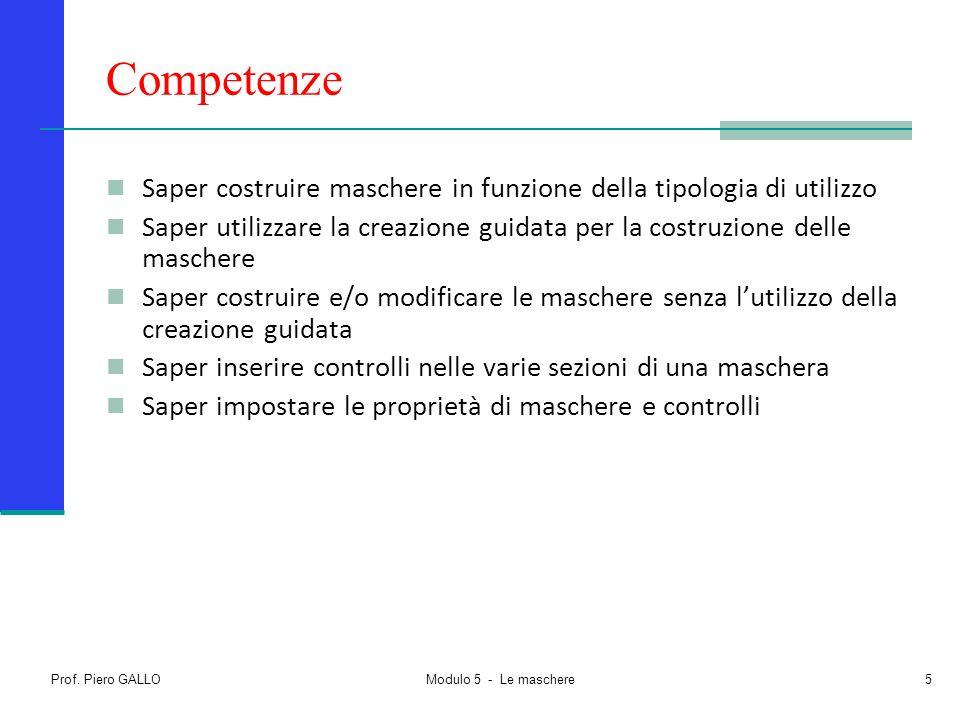 Prof. Piero GALLO Modulo 5 - Le maschere5 Competenze Saper costruire maschere in funzione della tipologia di utilizzo Saper utilizzare la creazione gu