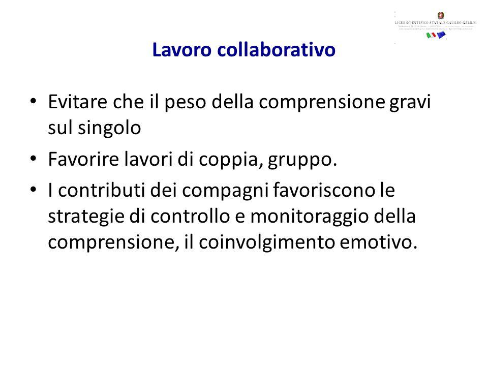Lavoro collaborativo Evitare che il peso della comprensione gravi sul singolo Favorire lavori di coppia, gruppo.
