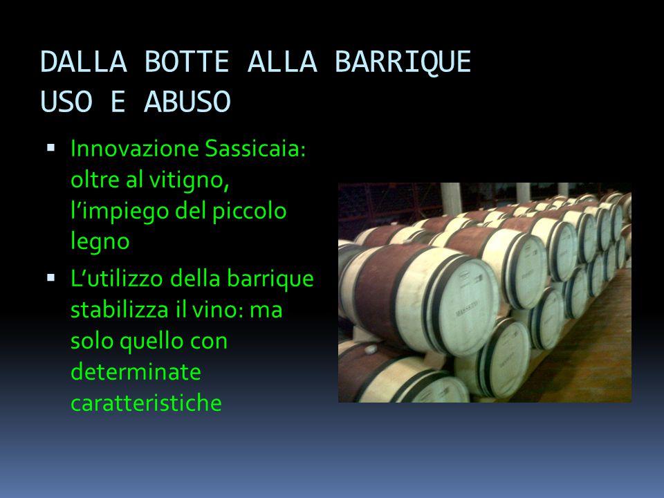 DALLA BOTTE ALLA BARRIQUE USO E ABUSO  Innovazione Sassicaia: oltre al vitigno, l'impiego del piccolo legno  L'utilizzo della barrique stabilizza il