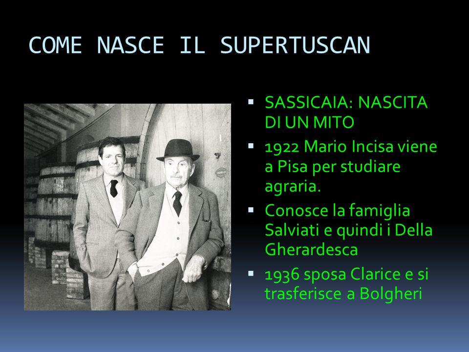 COME NASCE IL SUPERTUSCAN  SASSICAIA: NASCITA DI UN MITO  1922 Mario Incisa viene a Pisa per studiare agraria.  Conosce la famiglia Salviati e quin