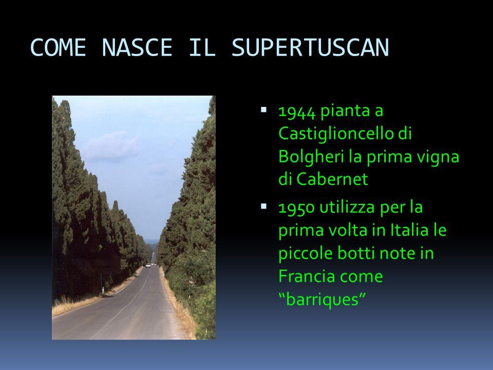 COME NASCE IL SUPERTUSCAN  1944 pianta a Castiglioncello di Bolgheri la prima vigna di Cabernet  1950 utilizza per la prima volta in Italia le picco