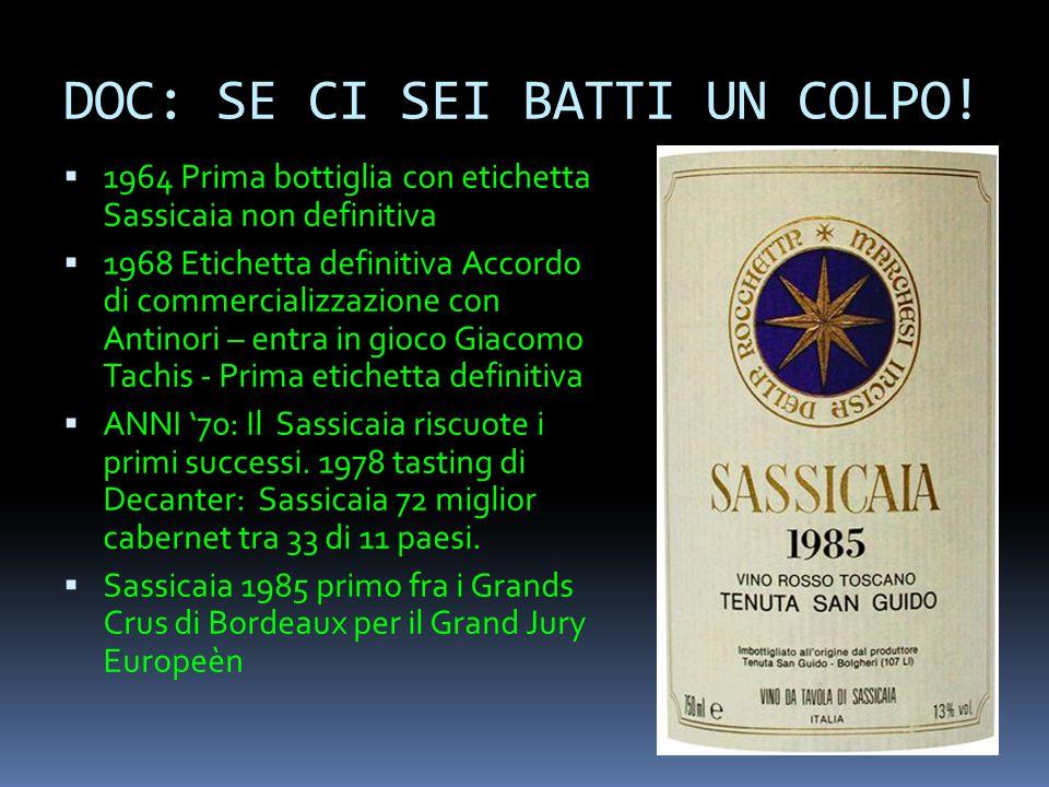 DOC: SE CI SEI BATTI UN COLPO!  1964 Prima bottiglia con etichetta Sassicaia non definitiva  1968 Etichetta definitiva Accordo di commercializzazion