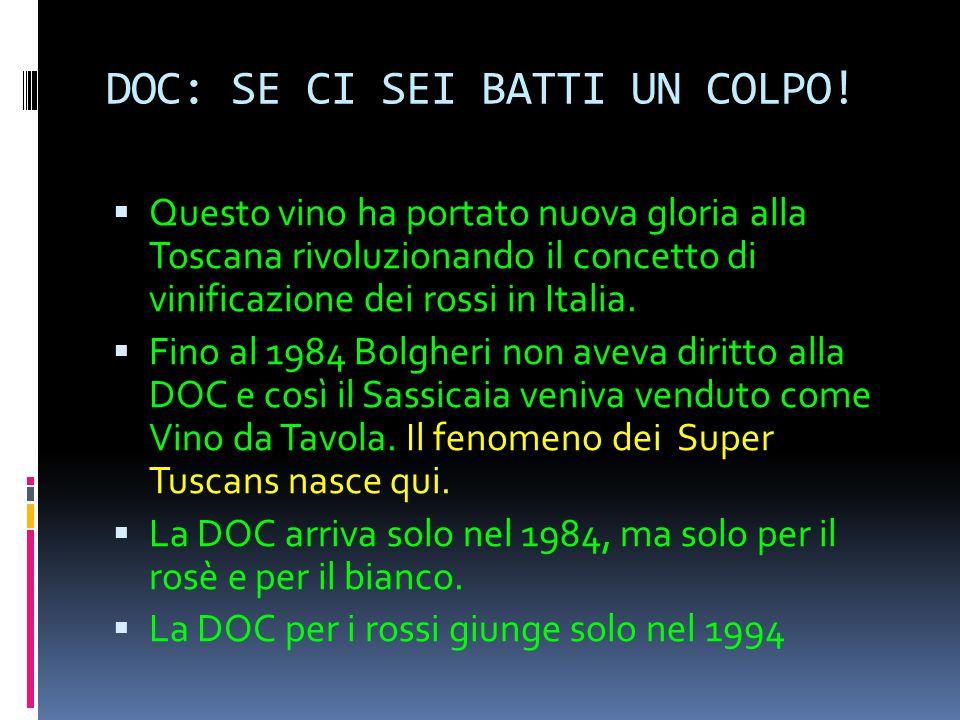 DOC: SE CI SEI BATTI UN COLPO!  Questo vino ha portato nuova gloria alla Toscana rivoluzionando il concetto di vinificazione dei rossi in Italia.  F