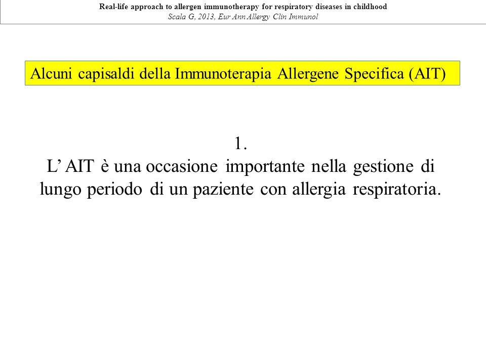 Alcuni capisaldi della Immunoterapia Allergene Specifica (AIT) 1. L' AIT è una occasione importante nella gestione di lungo periodo di un paziente con