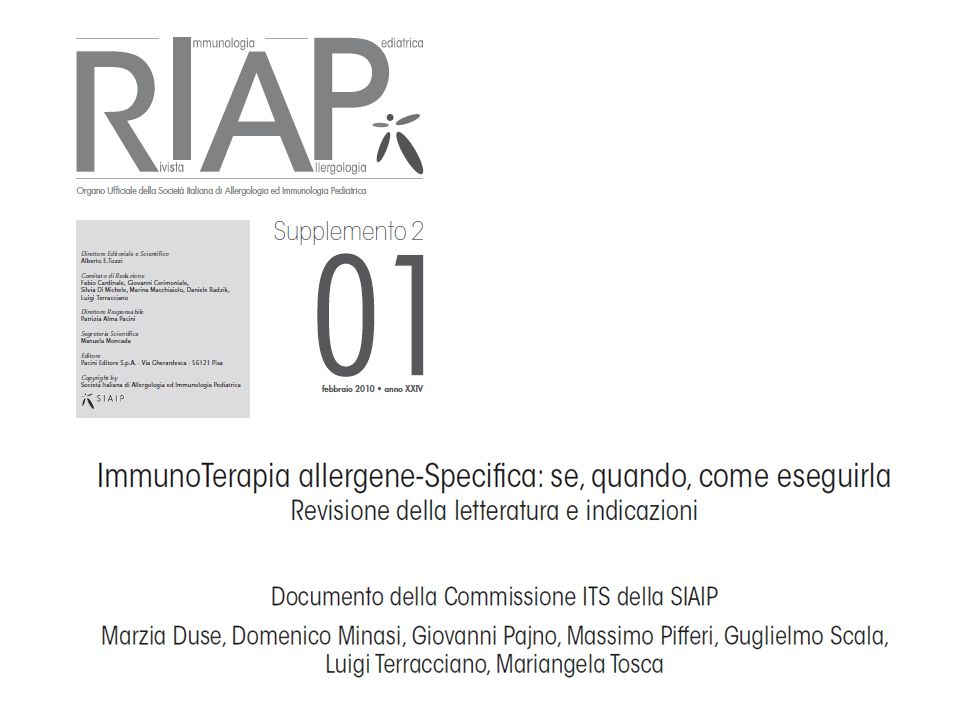 SIAIP 2010 - Indicazioni all'ITS