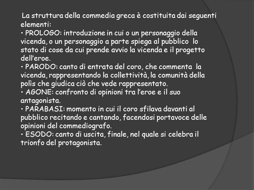 La struttura della commedia greca è costituita dai seguenti elementi: PROLOGO: introduzione in cui o un personaggio della vicenda, o un personaggio a
