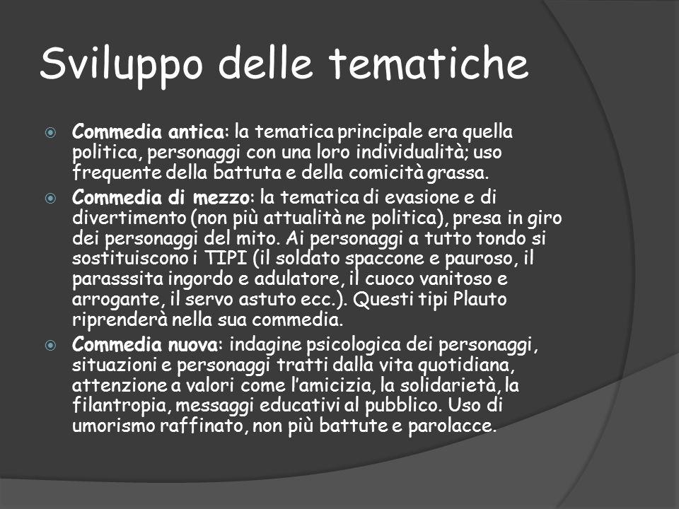 Sviluppo delle tematiche  Commedia antica: la tematica principale era quella politica, personaggi con una loro individualità; uso frequente della bat
