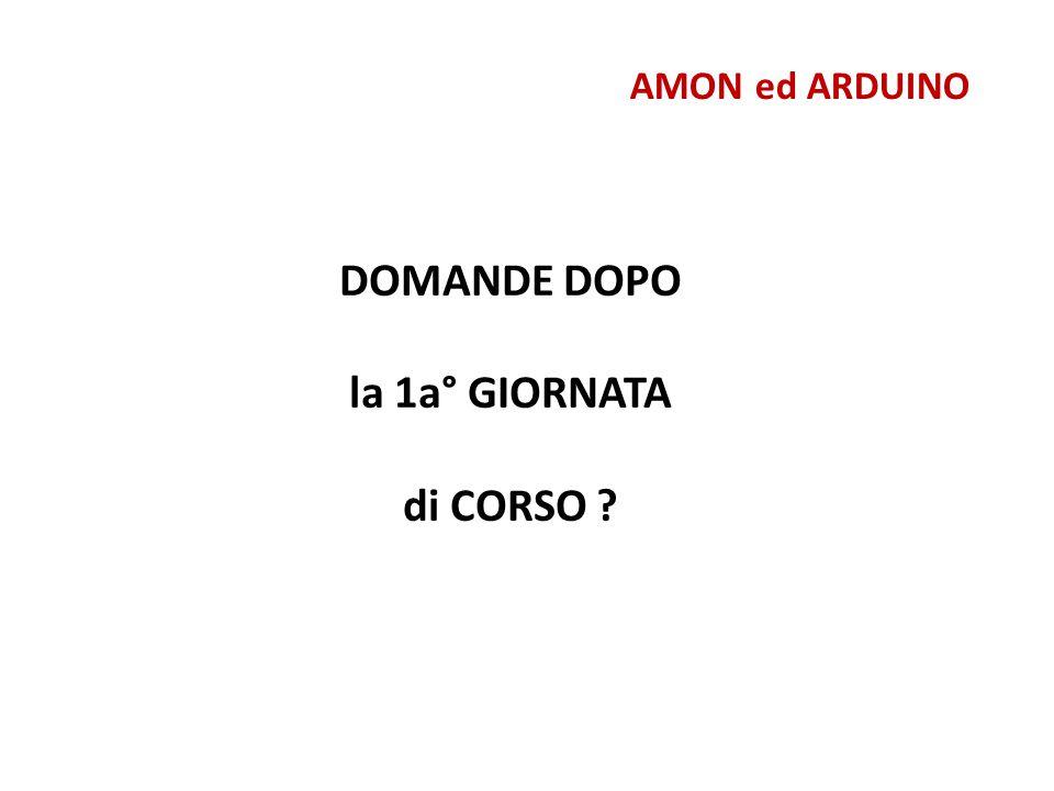 AMON ed ARDUINO Motori Passo Passo int motorPin1 = 8; int motorPin2 = 9; int motorPin3 = 10; int motorPin4 = 11; int delayTime = 500; void setup() { pinMode(motorPin1, OUTPUT); pinMode(motorPin2, OUTPUT); pinMode(motorPin3, OUTPUT); pinMode(motorPin4, OUTPUT); } void loop() { digitalWrite(motorPin1, HIGH); digitalWrite(motorPin2, LOW); digitalWrite(motorPin3, LOW); digitalWrite(motorPin4, LOW); delay(delayTime); digitalWrite(motorPin1, LOW); digitalWrite(motorPin2, HIGH); digitalWrite(motorPin3, LOW); digitalWrite(motorPin4, LOW); delay(delayTime); digitalWrite(motorPin1, LOW); digitalWrite(motorPin2, LOW); digitalWrite(motorPin3, HIGH); digitalWrite(motorPin4, LOW); delay(delayTime); digitalWrite(motorPin1, LOW); digitalWrite(motorPin2, LOW); digitalWrite(motorPin3, LOW); digitalWrite(motorPin4, HIGH); delay(delayTime); } NOTA : un secondo motore può essere collegato alle porte 4,5,6,7,