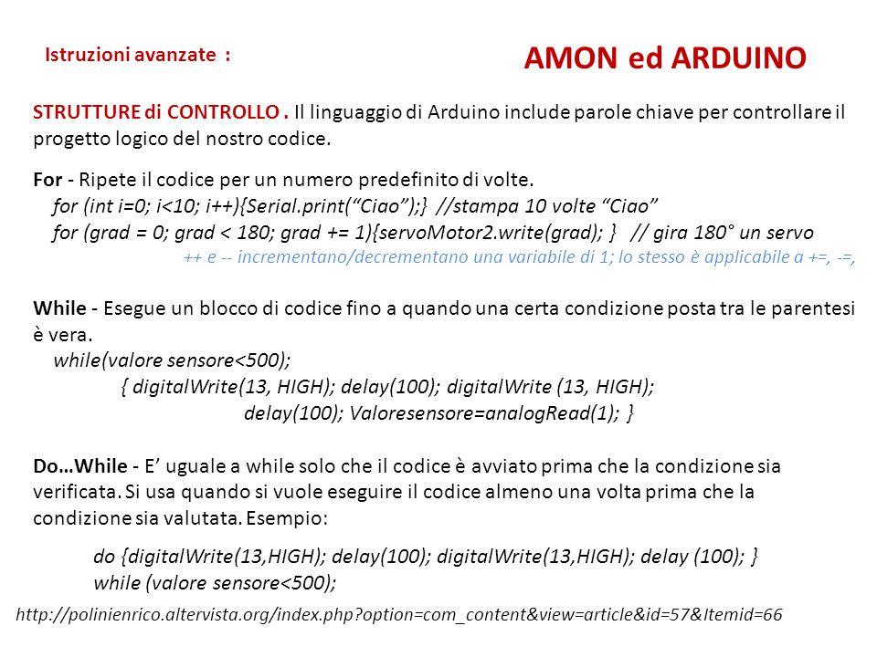 // Controlling a servo position using two button // by Alfieri Mauro #include Servo myservo; // create servo object int grado = 0; int minGrad = 0; int maxGrad = 180; int pinServo = 3; int prev = A1; int next = A0; void setup() { myservo.attach( pinServo ); myservo.write( grado ); pinMode( prev, INPUT ); pinMode( next, INPUT ); } void loop() { if ( analogRead( prev ) > 1000 ) { grado--; } if ( analogRead( next ) > 1000 ) { grado++; } if ( grado > maxGrad ) { grado = maxGrad; } if ( grado < minGrad ) { grado = minGrad; } myservo.write( grado ); delay(15); } Un Servo comandato da pulsanti AMON ed ARDUINO