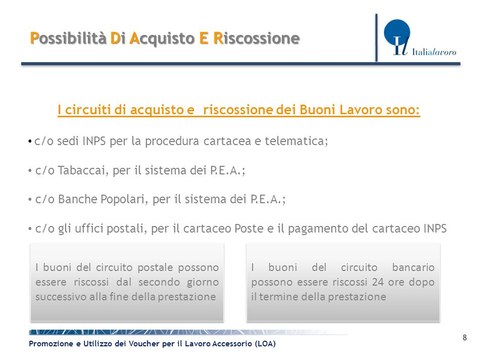 8 Promozione e Utilizzo dei Voucher per il Lavoro Accessorio (LOA) Possibilità DiAcquisto E Riscossione Possibilità Di Acquisto E Riscossione I circui