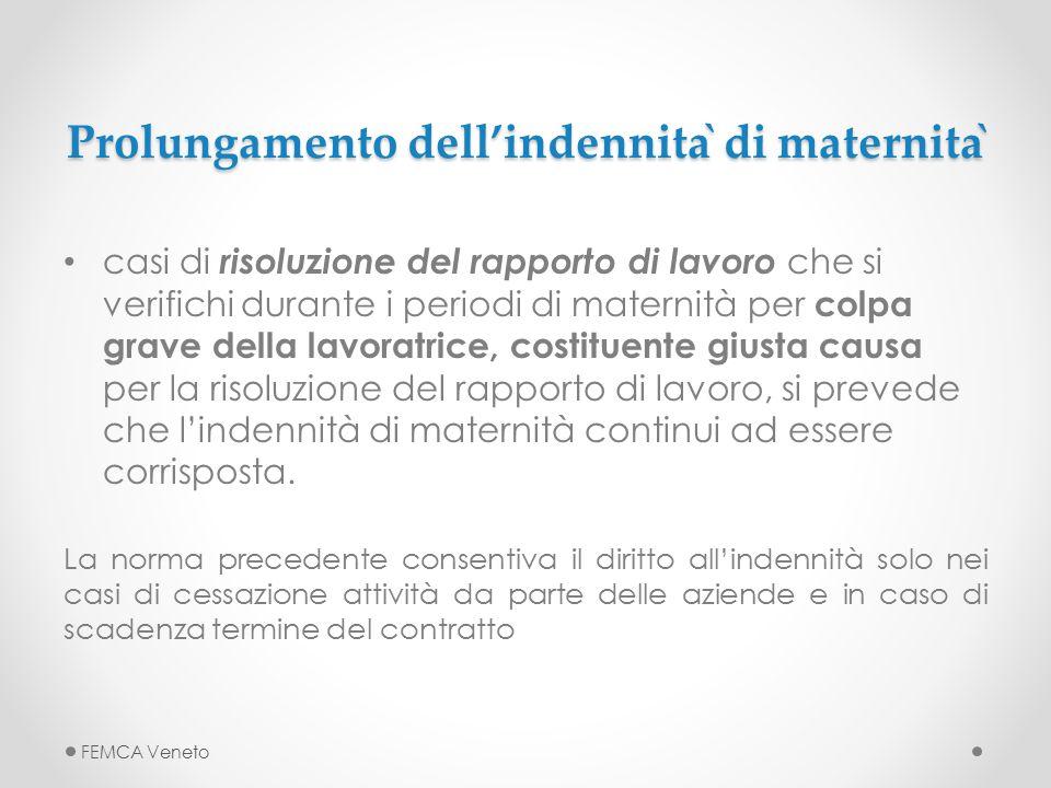 Prolungamento dell'indennità di maternità casi di risoluzione del rapporto di lavoro che si verifichi durante i periodi di maternità per colpa grave