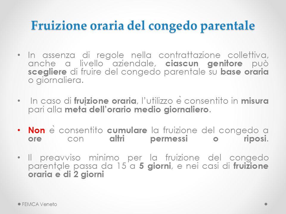 Fruizione oraria del congedo parentale Fruizione oraria del congedo parentale In assenza di regole nella contrattazione collettiva, anche a livello az
