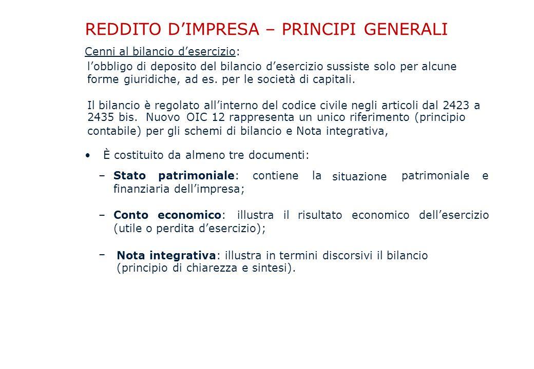 REDDITO D'IMPRESA – PRINCIPI GENERALI Cenni al bilancio d'esercizio: l'obbligo di deposito del bilancio d'esercizio sussiste solo per alcune forme giuridiche, ad es.
