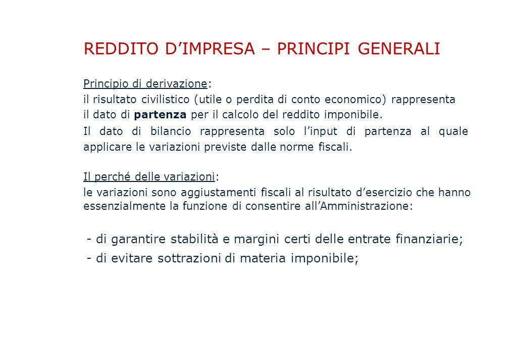 REDDITO D'IMPRESA – PRINCIPI GENERALI Principio di derivazione: il risultato civilistico (utile o perdita di conto economico) rappresenta il dato di partenza per il calcolo del reddito imponibile.