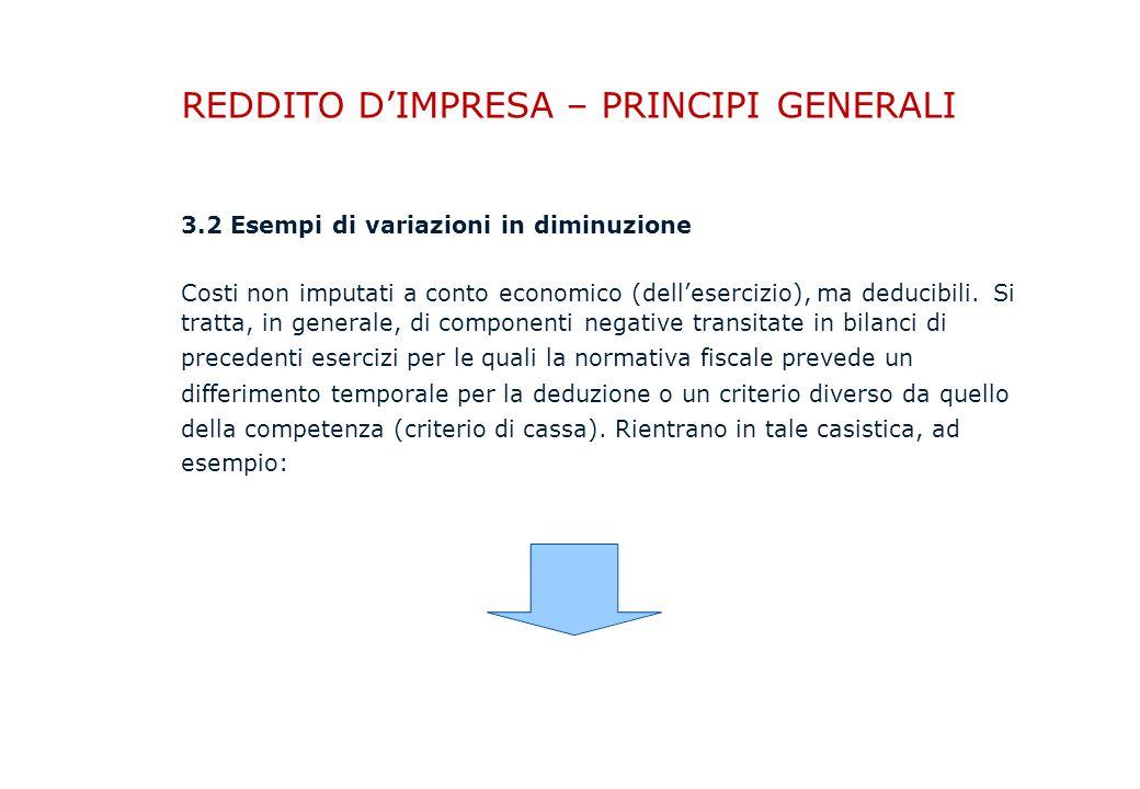 REDDITO D'IMPRESA – PRINCIPI GENERALI 3.2 Esempi di variazioni in diminuzione Costi non imputati a conto economico (dell'esercizio), ma deducibili.