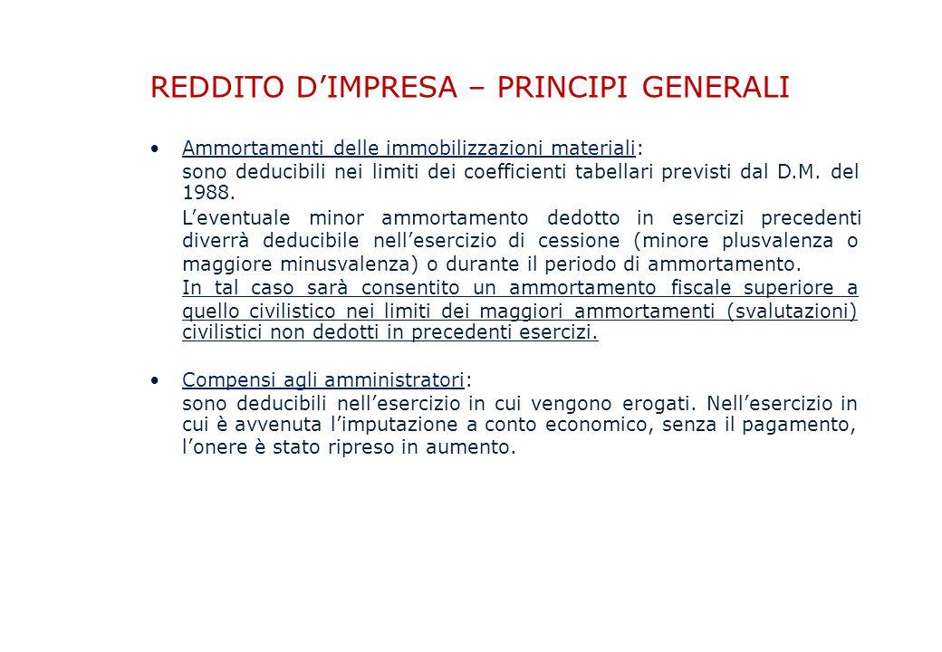 REDDITO D'IMPRESA – PRINCIPI GENERALI Ammortamenti delle immobilizzazioni materiali: sono deducibili nei 1988.