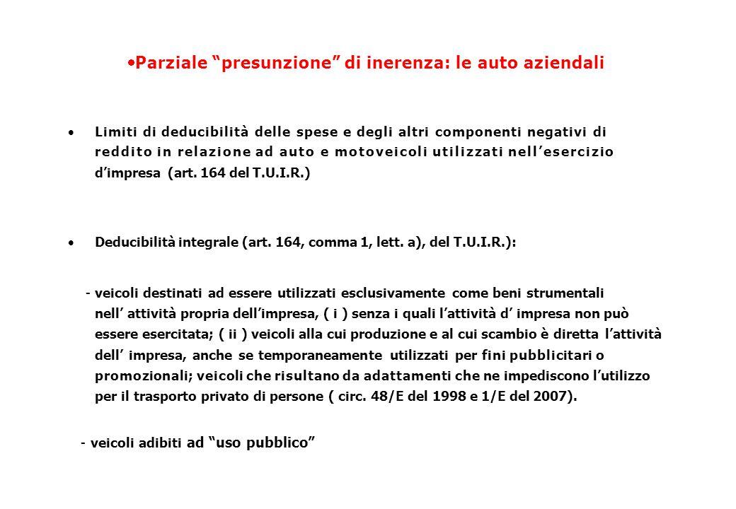  Parziale presunzione di inerenza: le auto aziendali  Limiti di deducibilità delle spese e degli altri componenti negativi di reddito in relazione ad auto e motoveicoli utilizzati nell'esercizio d'impresa (art.