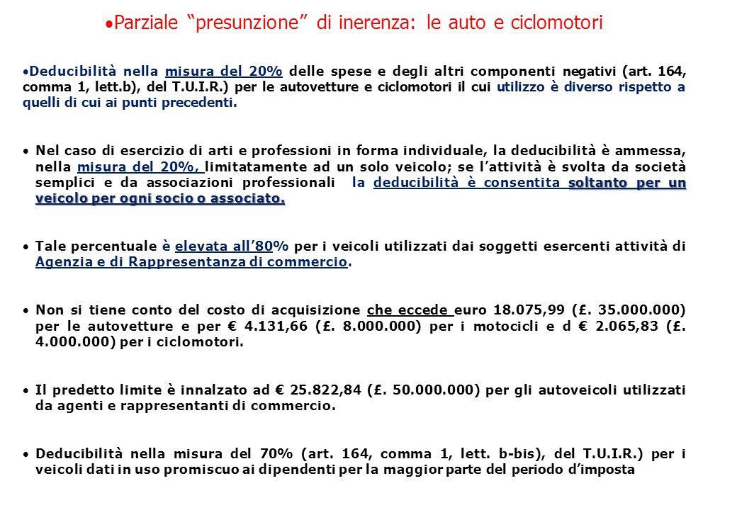 Parziale presunzione di inerenza: le auto e ciclomotori  Deducibilità nella misura del 20% delle spese e degli altri componenti negativi (art.