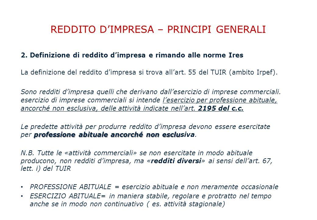 REDDITO D'IMPRESA – PRINCIPI GENERALI 2.