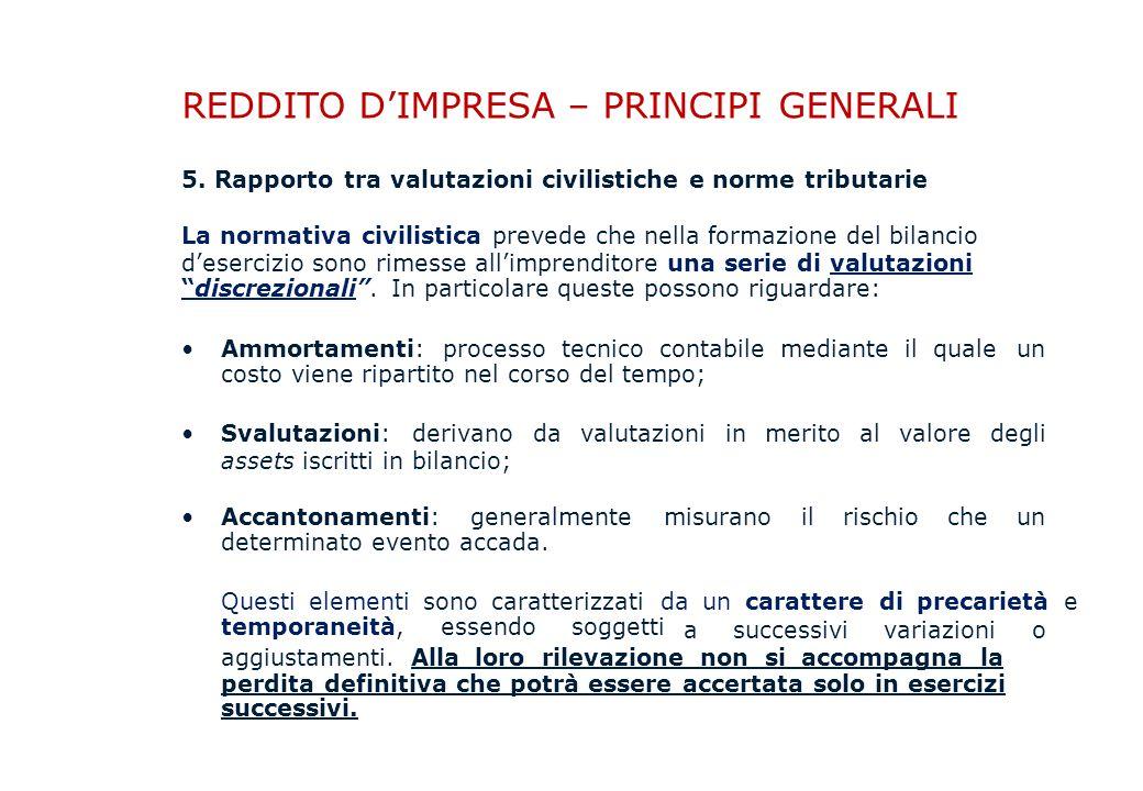 REDDITO D'IMPRESA – PRINCIPI GENERALI 5.