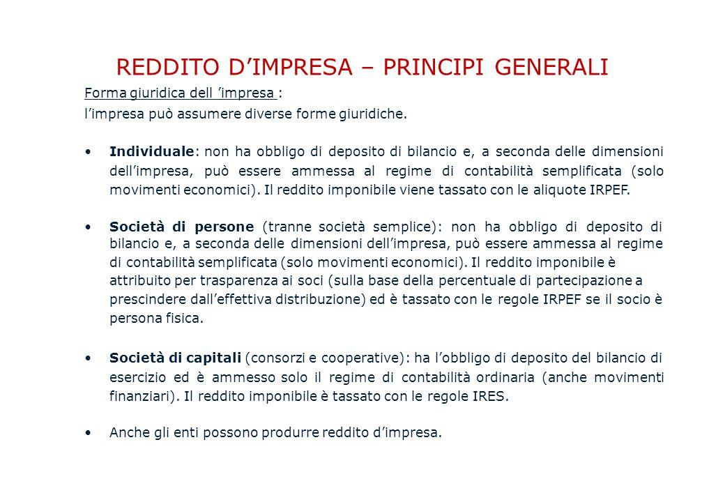 REDDITO D'IMPRESA – PRINCIPI GENERALI Forma giuridica dell 'impresa : l'impresa può assumere diverse forme giuridiche.