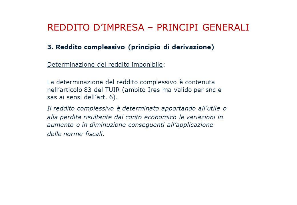 REDDITO D'IMPRESA – PRINCIPI GENERALI 3.