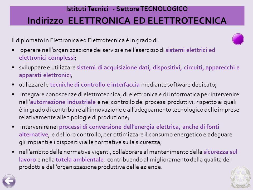 Istituti Tecnici - Settore TECNOLOGICO Indirizzo ELETTRONICA ED ELETTROTECNICA Il diplomato in Elettronica ed Elettrotecnica è in grado di: operare ne
