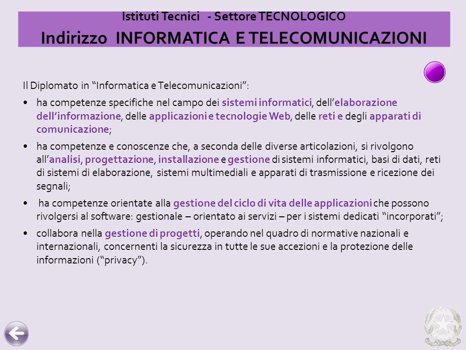 """Il Diplomato in """"Informatica e Telecomunicazioni"""": ha competenze specifiche nel campo dei sistemi informatici, dell'elaborazione dell'informazione, de"""