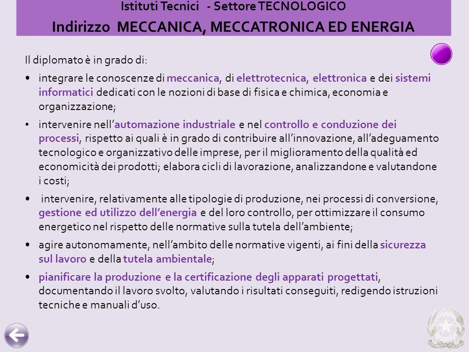 Istituti Tecnici - Settore TECNOLOGICO Indirizzo MECCANICA, MECCATRONICA ED ENERGIA Il diplomato è in grado di: integrare le conoscenze di meccanica,
