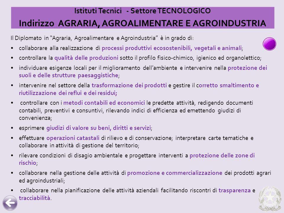 """Il Diplomato in """"Agraria, Agroalimentare e Agroindustria"""" è in grado di: collaborare alla realizzazione di processi produttivi ecosostenibili, vegetal"""
