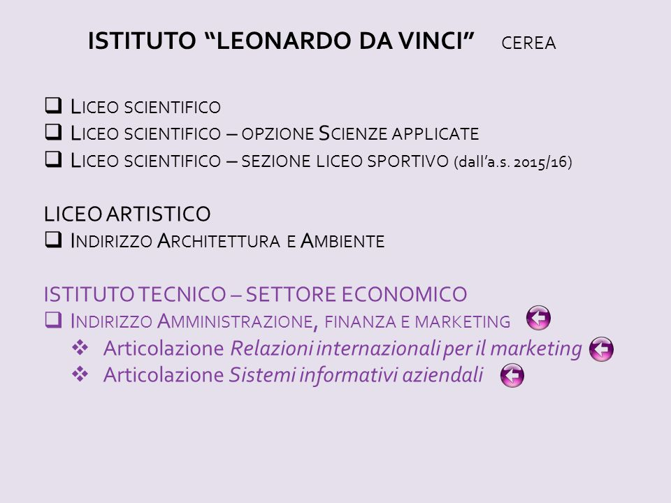 ISTITUTO LEONARDO DA VINCI CEREA  L ICEO SCIENTIFICO  L ICEO SCIENTIFICO – OPZIONE S CIENZE APPLICATE  L ICEO SCIENTIFICO – SEZIONE LICEO SPORTIVO (dall'a.s.