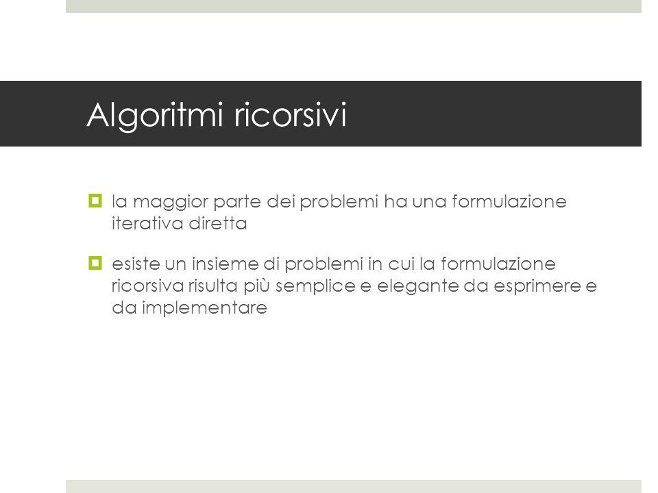 Algoritmi ricorsivi  la maggior parte dei problemi ha una formulazione iterativa diretta  esiste un insieme di problemi in cui la formulazione ricorsiva risulta più semplice e elegante da esprimere e da implementare
