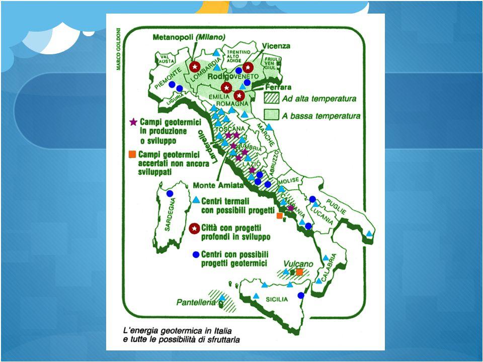 PRODUZIONE Ad oggi la produzione di energia geotermica copre il 25% del fabbisogno di energia della regione Toscana e circa l'1,5% di quello nazionale.