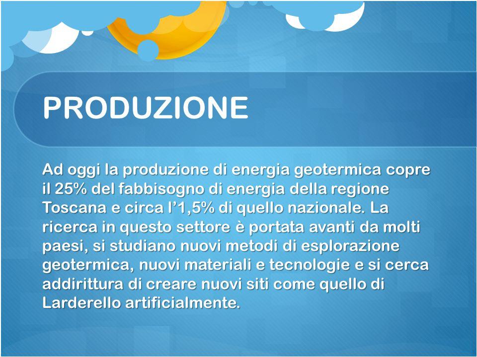 PRODUZIONE Ad oggi la produzione di energia geotermica copre il 25% del fabbisogno di energia della regione Toscana e circa l'1,5% di quello nazionale