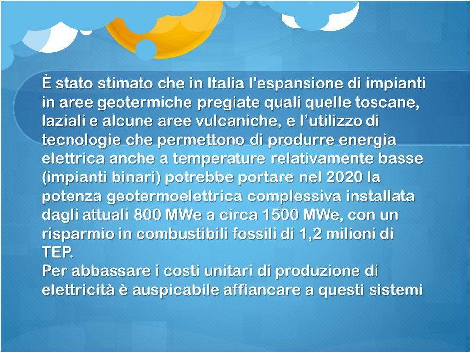 È stato stimato che in Italia l'espansione di impianti in aree geotermiche pregiate quali quelle toscane, laziali e alcune aree vulcaniche, e l'utiliz